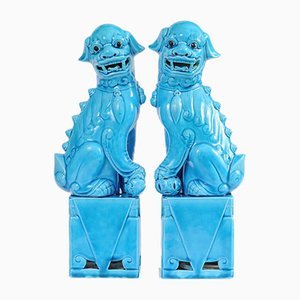 Turquoise Glazed Porcelain Foo Dog Figurines, 1960s, Set of 2