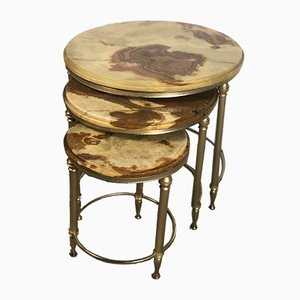 Vintage Italian Nesting Tables with Brass Gilded Marble Top, 1970s