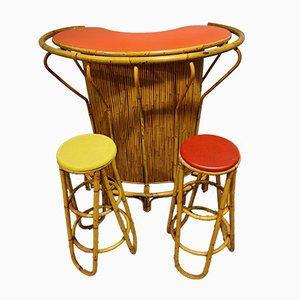 Mobile bar Tiki Mid-Century in bambù, anni '60