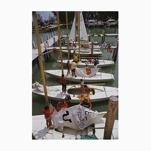 Freeport Yachts Oversize C Print Framed in Black by Slim Aarons