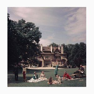 French Stately Home Oversize C Print Framed in Black by Slim Aarons