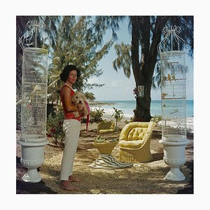 Gloria Schiff Oversize C Print Framed in White by Slim Aarons