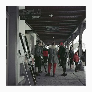 Gstaad Station Oversize C Print Framed in Black by Slim Aarons