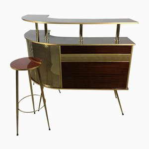 Formica and Golden Brass Cocktail Bar & Stool, 1950s, Set of 2