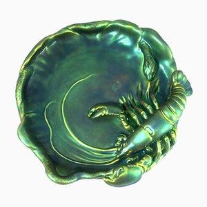 Jugendstil Glasierte Krabbenform von Zsolnay, 1920er