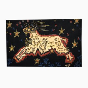 The Goat Painting/Print on Fabric by Jean Lurçat, 1950s
