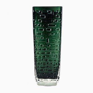 Emerald Green Glass Vase by Emil Funke for Gral Glass, 1970s