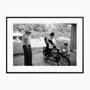 Elvis and His Harley Archival Pigment Print Framed in Black by Phillip Harrington
