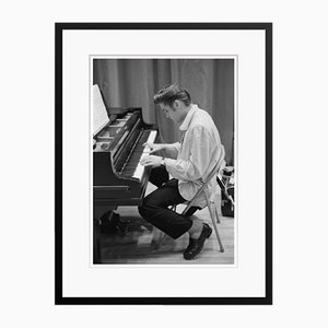 Elvis At the Piano Archival Pigment Print Framed in Black by Phillip Harrington