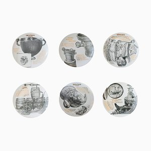 Plates by Atelier Fornasetti for Martini & Rossi, 1986, Set of 6