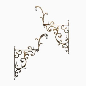 18th-Century Italian Gilt Wrought Iron Ceiling Lamps, Set of 2