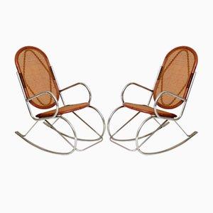 Sedie a dondolo retrò in metallo cromato e bambù, anni '70, set di 2