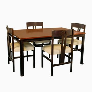 Dining Table & Chairs Set by Angelo Mangiarotti, 1960s, Set of 5