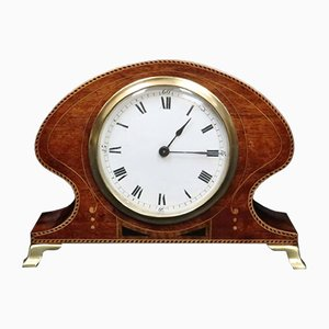 French Art Nouveau Mahogany Inlaid Timepiece Mantel Clock, 1900s