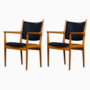 Mid-Century JH-513 Teak & Leather Armchairs by Hans J. Wegner for Johannes Hansen, Set of 2