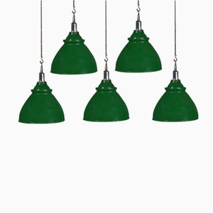 Mid-Century Industrial Enamel Factory Light