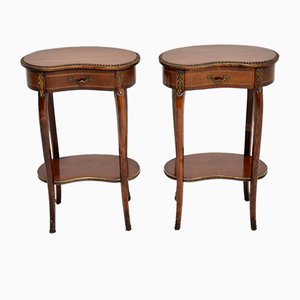 Antique French Mahogany Kidney Nightstands, 1930s, Set of 2