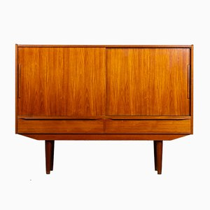 Mid-Century Danish Teak Highboard with Bar