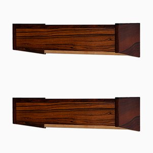 Mid-Century Danish Wall-Mounted Rosewood Nightstands, Set of 2