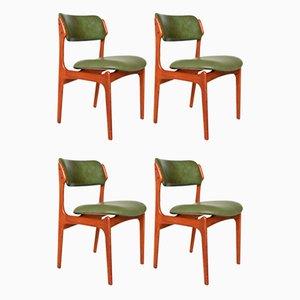 Model 49 Teak Dining Chairs by Erik Buch for Oddense Maskinsnedkeri / O.D. Møbler, 1960s, Set of 4