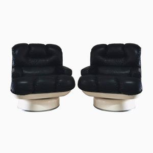 Swivel Lounge Chairs with Black Imitation Leather & Resin Glass, 1970s, Set of 2