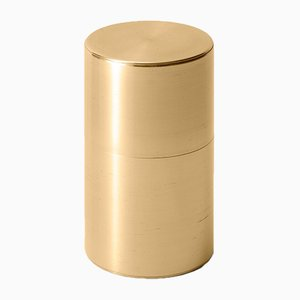 Tea Caddy Brass 200g Wide Push Down from Kaikado