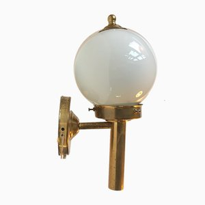 Danish Brass and Opaline Glass Wall Sconce from Abo Metalkunst, 1970s