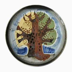 Large Autumn Wall Plate by Gösta Millberg for Rörstrand, 1970s