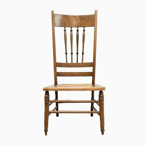 Antique Arts & Crafts Oak Occasional Chair with Woven Seat