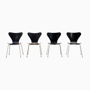 Black Model 3107 Butterfly Chairs by Arne Jacobsen for Fritz Hansen, 1970s, Set of 4