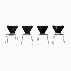 Schwarze Modell 3107 Butterfly Stühle von Arne Jacobsen für Fritz Hansen, 1970er, Set à x