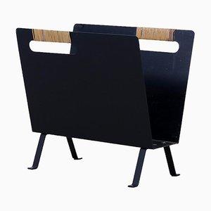 Porte-Revues Vintage Moderniste en Métal Noir, 1960s