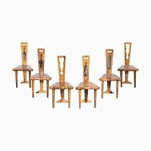 Artisanal Chairs in Olive Wood and Ceramic, 1960s, Set of 6