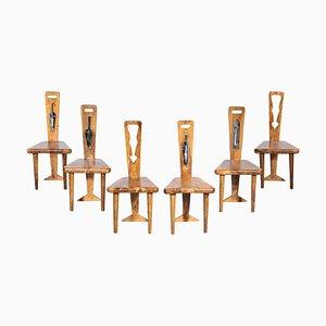 Handwerkliche Stühle aus Olivenholz und Keramik, 1960er, 6er Set