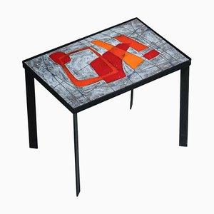 Enameled Lava Stone Side Table by Cloutier Freres, 1960s