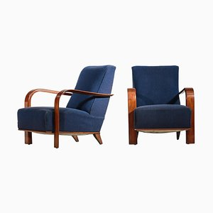Art Deco Dark Blue Armchairs in the Style of Jules Leleu, 1940s, Set of 2