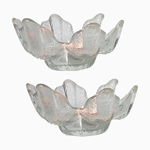 Votiv Kerzenhalter aus Kristallglas von Kosta Boda für Orrefors, Schweden, 1970er, 2er Set