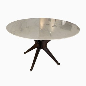 Vintage Ebonized Table in Calacatta Marble