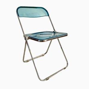 Hellblauer Plia Stuhl von Giancarlo Piretti für Anonima Castelli, 1960er