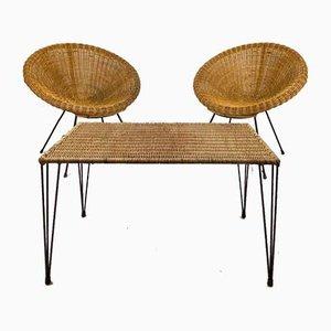 Rattan Lounge Set, 1960s