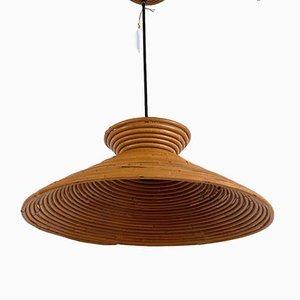 Indian Cane Hat Pendant Lamp, 1970s