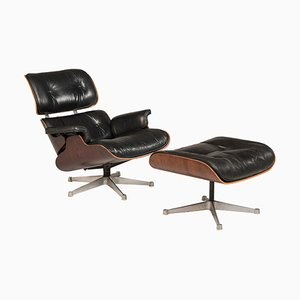 Black Leather 670 Lounge Chair & 671 Ottoman by Charles & Ray Eames for Herman Miller, 1970s, Set of 2