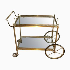 French Neoclassical Style Brass Drinks Trolley with Removable Tray by Maison Bagués, 1940s