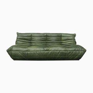 Vintage 3-Sitzer Togo Sofa in waldgrünem Leder von Michel Ducaroy für Ligne Roset, 1980er