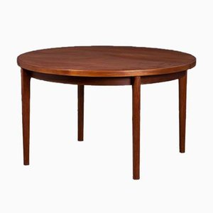 Mid-Century Danish Round Dining Table with Extension by Henning Kjærnulf for Vejle Mobelfabrik, 1960s