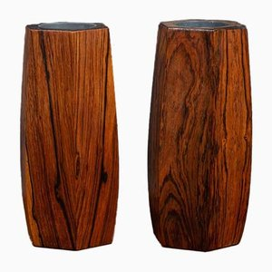 Mid-Century Danish Rosewood Vases, 1960s, Set of 2