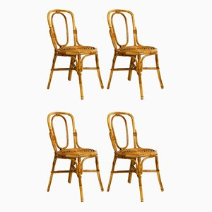 Italian Bamboo Dining Chairs, 1960s, Set of 4