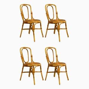Sedie da pranzo in bambù, Italia, anni '60, set di 4