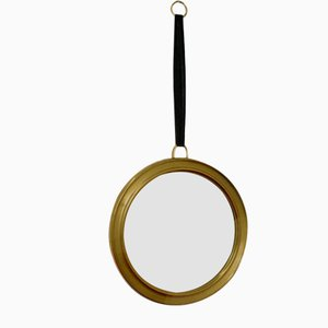 Vintage Mirror with Brass Frame, String & Ring for Affixing, 1950s
