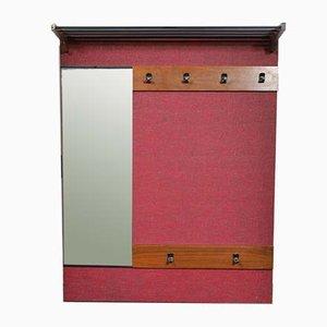 Attaccapanni in teak e vetro specchiato, anni '60
